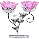 LONGWIN Rose Blossom 2-Tealight Candle Holders Tabel Centerpieces Pink