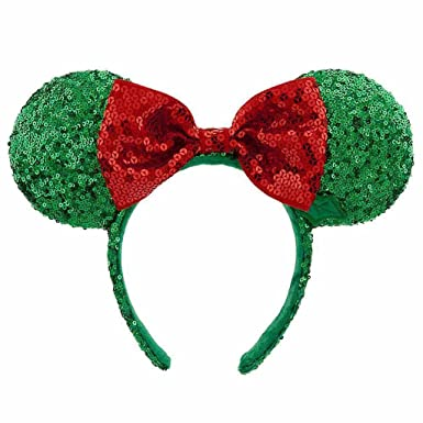 disney parks minnie mouse holly jolly christmas ears headband w red bow