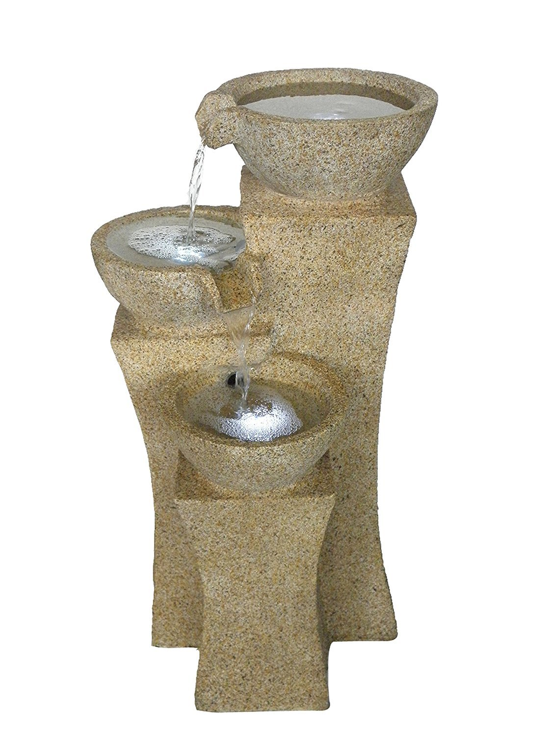 The Veneto - 26'' Three Bowl Cascading Waterfall Rock Fountain w/3 LED - Light Granite. Elegant water feature perfect for your outdoor living space. HF-B08-26L-LG by Harmony Fountains