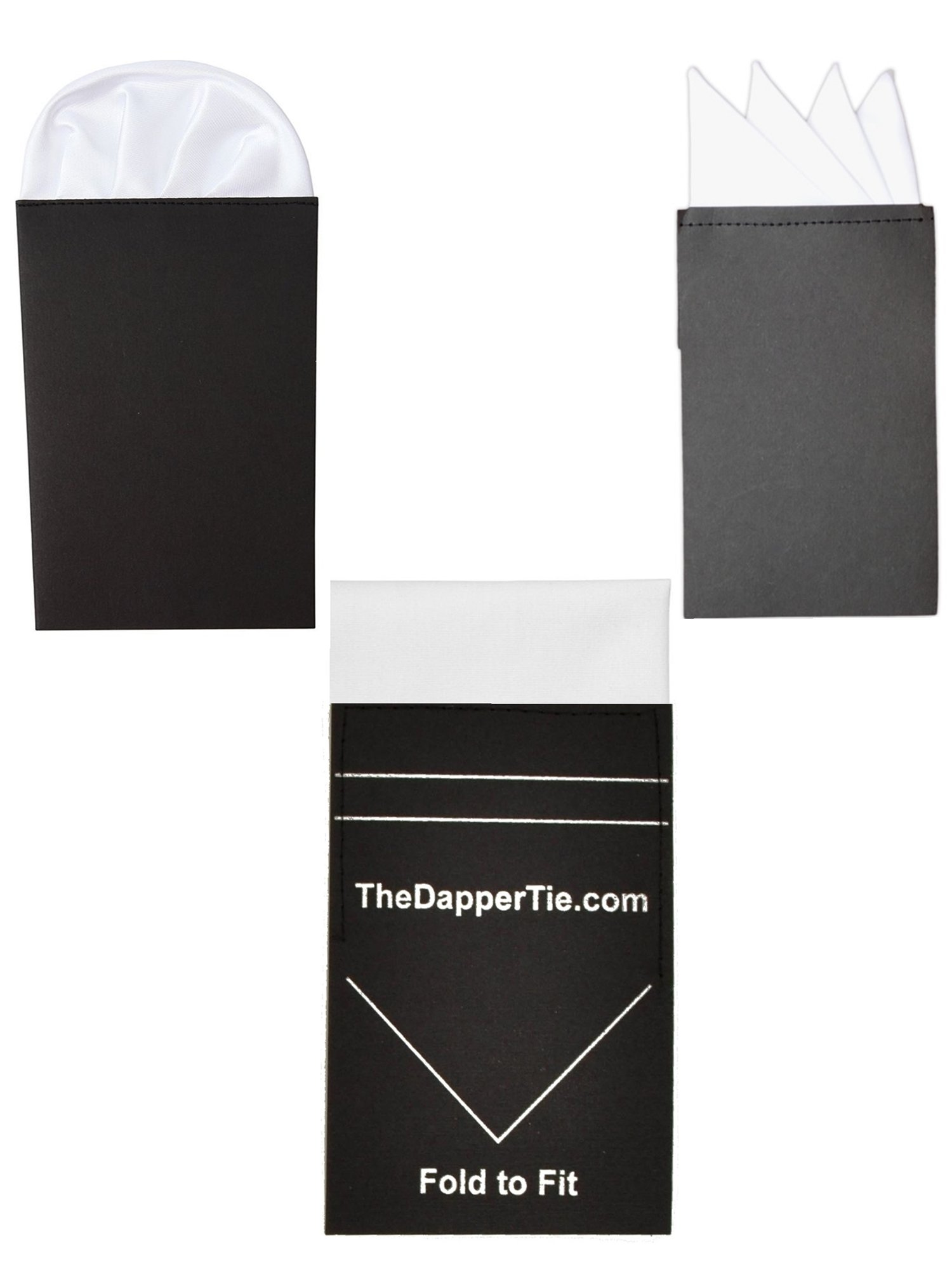 TheDapperTie - Men's White 3 Pre Folded Pocket square Set - Flat, 4 Point, Puff