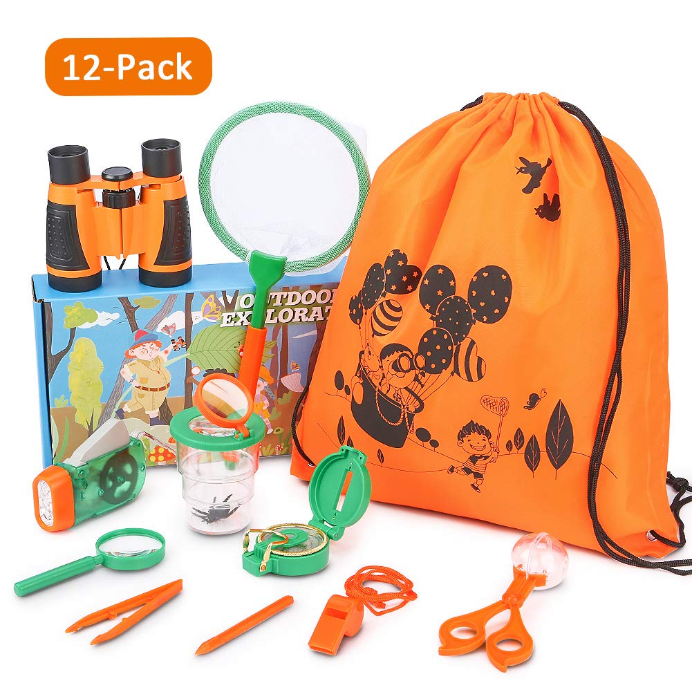 YEZI Outdoor Explorer Kit Gift Kids Toys,11 Pack Kids Adventurer Exploration Equipment Set,Eucational Toys Gifts with Binoculars,Flashlight,Compass,Magnifying Glass,Whistle for Camping Hiking Pretend