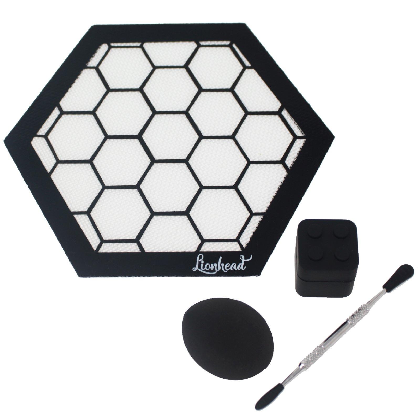 Silicone Mat Bundle - 8'' Hexagon Mat + 5'' Carving Tool + 7ml Non-Stick Container + Sponge - Lionhead (Honeycomb)