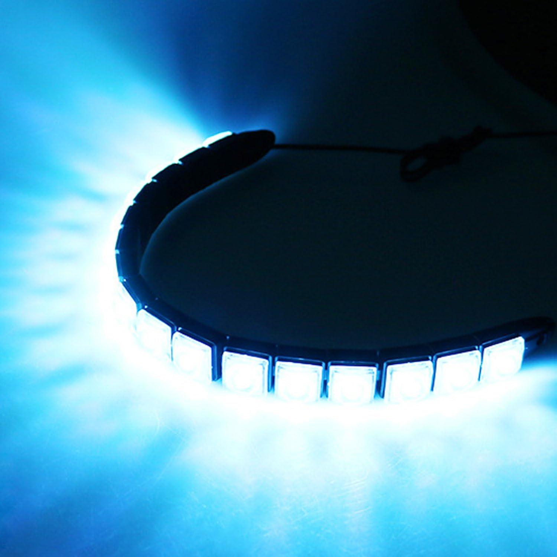 MuZuZi 2pcs Voiture DRL Feu de jour Feux de neige 10Led Lampe Lumi/ère du jour Imperm/éable /à leau courbable ice blue