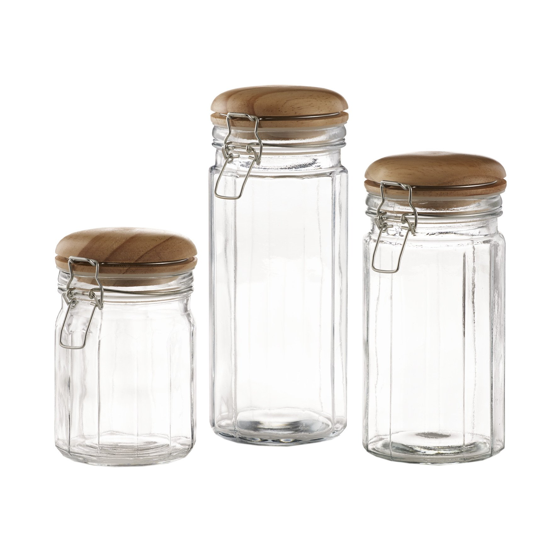 Set of 3 Glass Canister Jars with Trigger Airtight Tight Lids and Wooden Cover for Kitchen Countertop and Bathroom Clear, Round, Food, Cookie, Cracker, Storage Containers