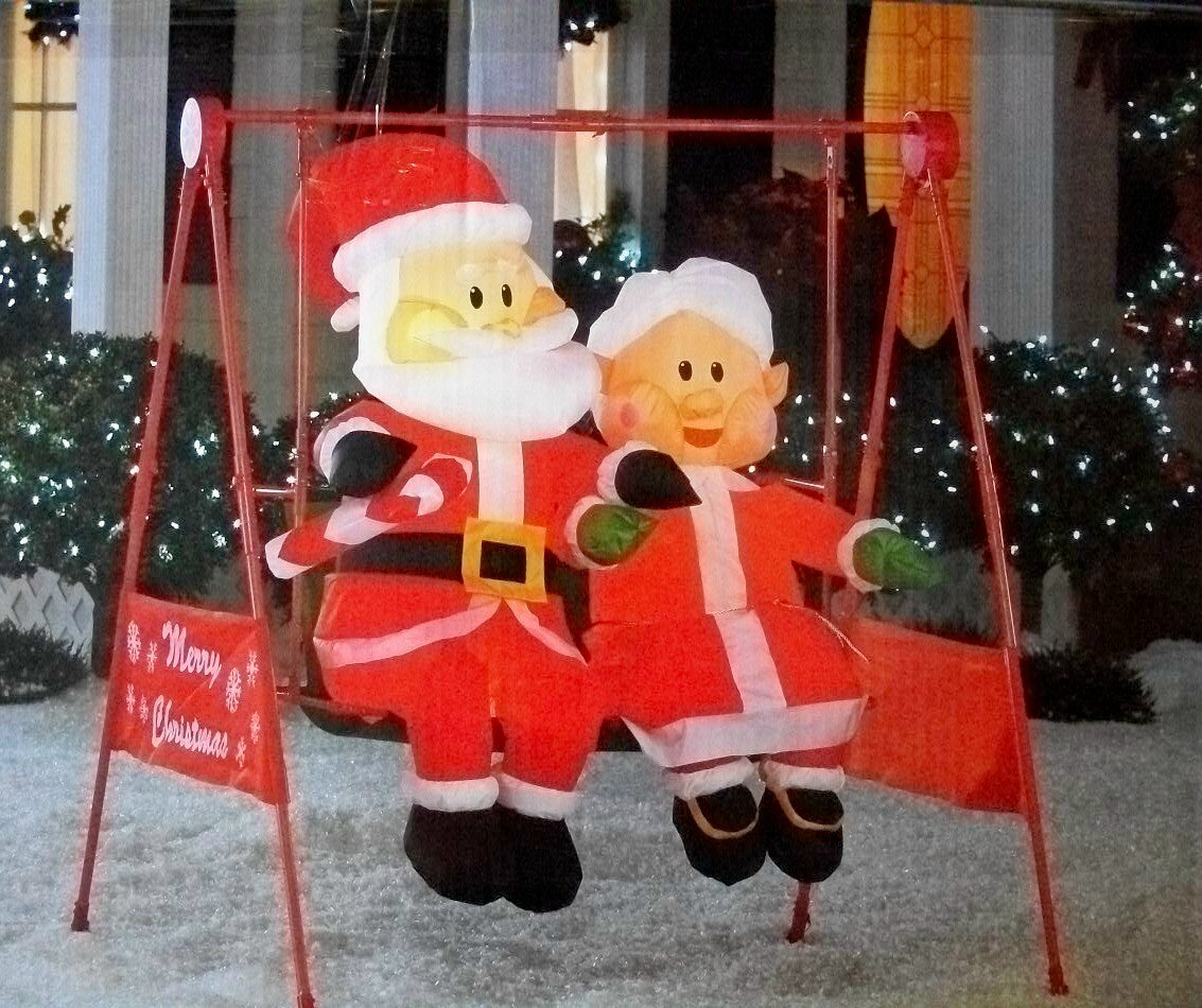 Mrs Claus Christmas Decorations Part - 49: Amazon.com: Mr. U0026 Mrs. Claus Porch Swing Animated Christmas Inflatable:  Home U0026 Kitchen