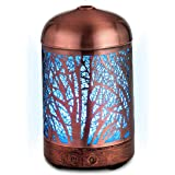 Aromatherapy Essential Oil Diffuser. Copper 100ml small Humidifier; Metal handcrafted cage with Color Changing LED…