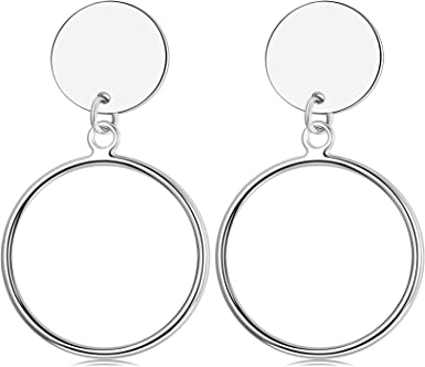 Designer Minimalist Geometry Hollow Out Round 925 Sterling Silver Dangle Earring