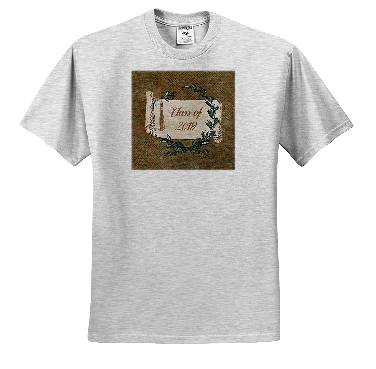 and Leaves Vintage Scroll Image of Class of 2019 3dRose Beverly Turner Graduation Design Tassel T-Shirts