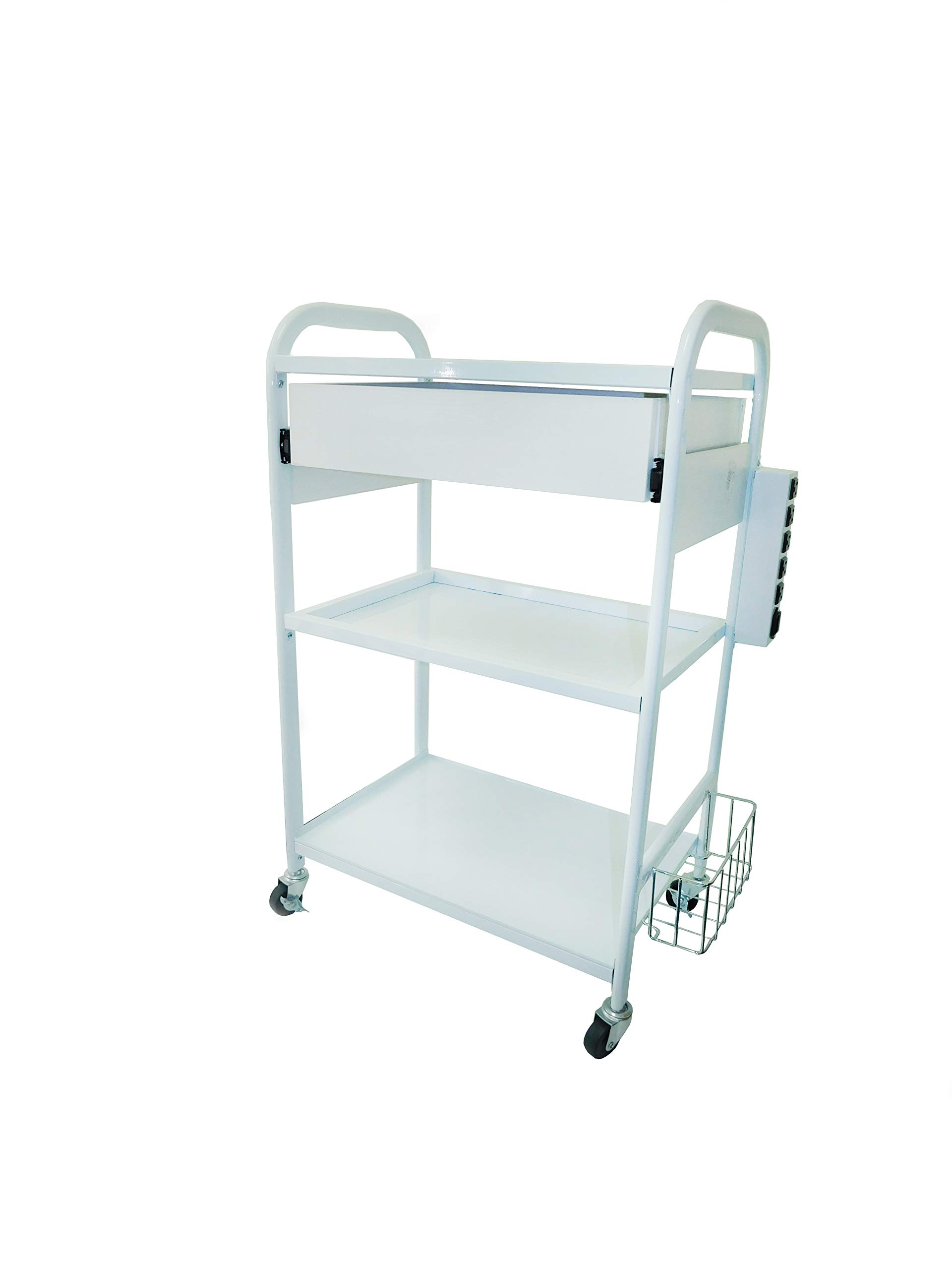 Rolling Facial Machine Utility/Storage Cart with Drawer, Wheels, and 3 Tiers, Features Electrical Box & Basket, Trolley for Salon & Spa, Mobile Cart for Estheticians - eMark Beauty