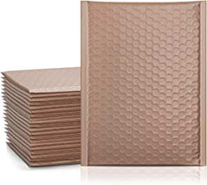 Metronic 25Pcs Poly Bubble Mailers, 6X10 Inch Padded Envelopes Bulk #0, Bubble Lined Wrap Polymailer Bags for Shipping/ Packaging/ Mailing Self Seal Taupe (Inside Size: 6x9