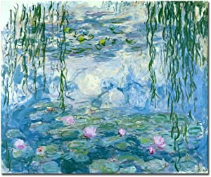 Wieco Art Water Lilies Giclee Canvas Prints Wall Art by Claude Monet Famous Oil Paintings Flowers Reproduction Modern Clsssic Landscape Artwork Picture Printed on Canvas for Home Office Decorations