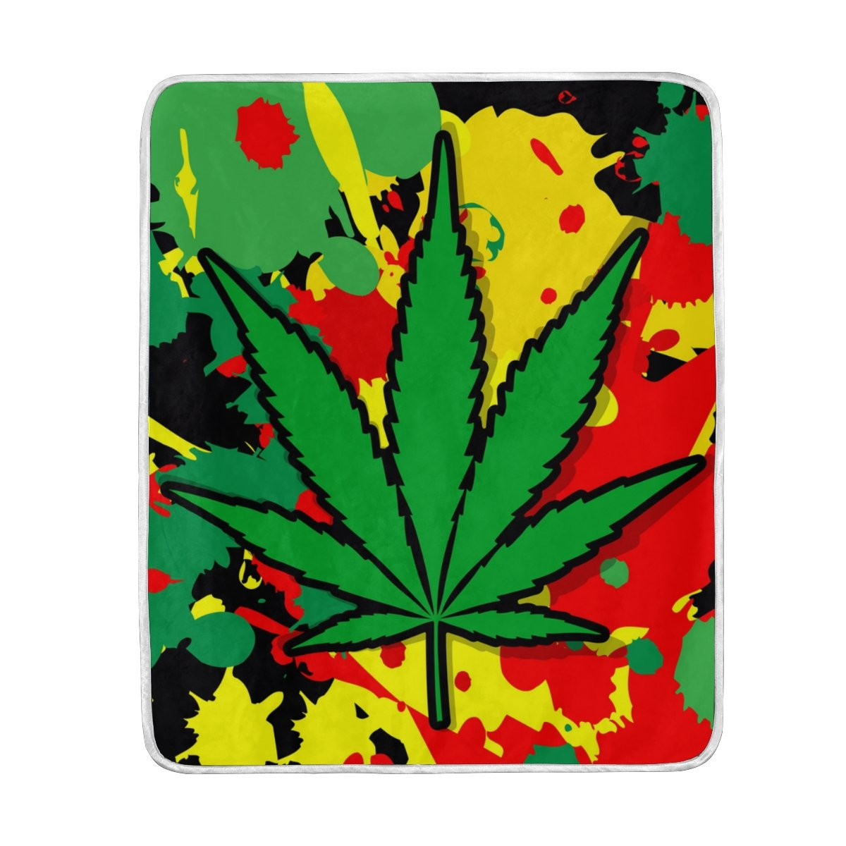 ALAZA Colorido Hoja de Marihuana Cannabis de poliéster de Manta de Microfibra 50