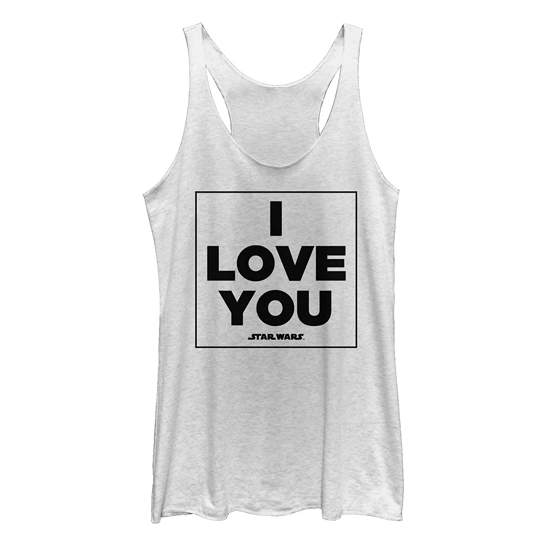6b641cbe4604c Amazon.com  Star Wars Women s Princess Leia I Love You Racerback Tank Top  White Heather  Clothing