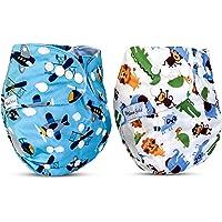 NOVABEBÉ Pañales Écologicos Lavables Ajustables Pañales De Bebé, Talla única, pañales de tela utilizados para nadar, apto para bebés/niños pequeños (8 – 36 libras), Avión-animal, Talla única