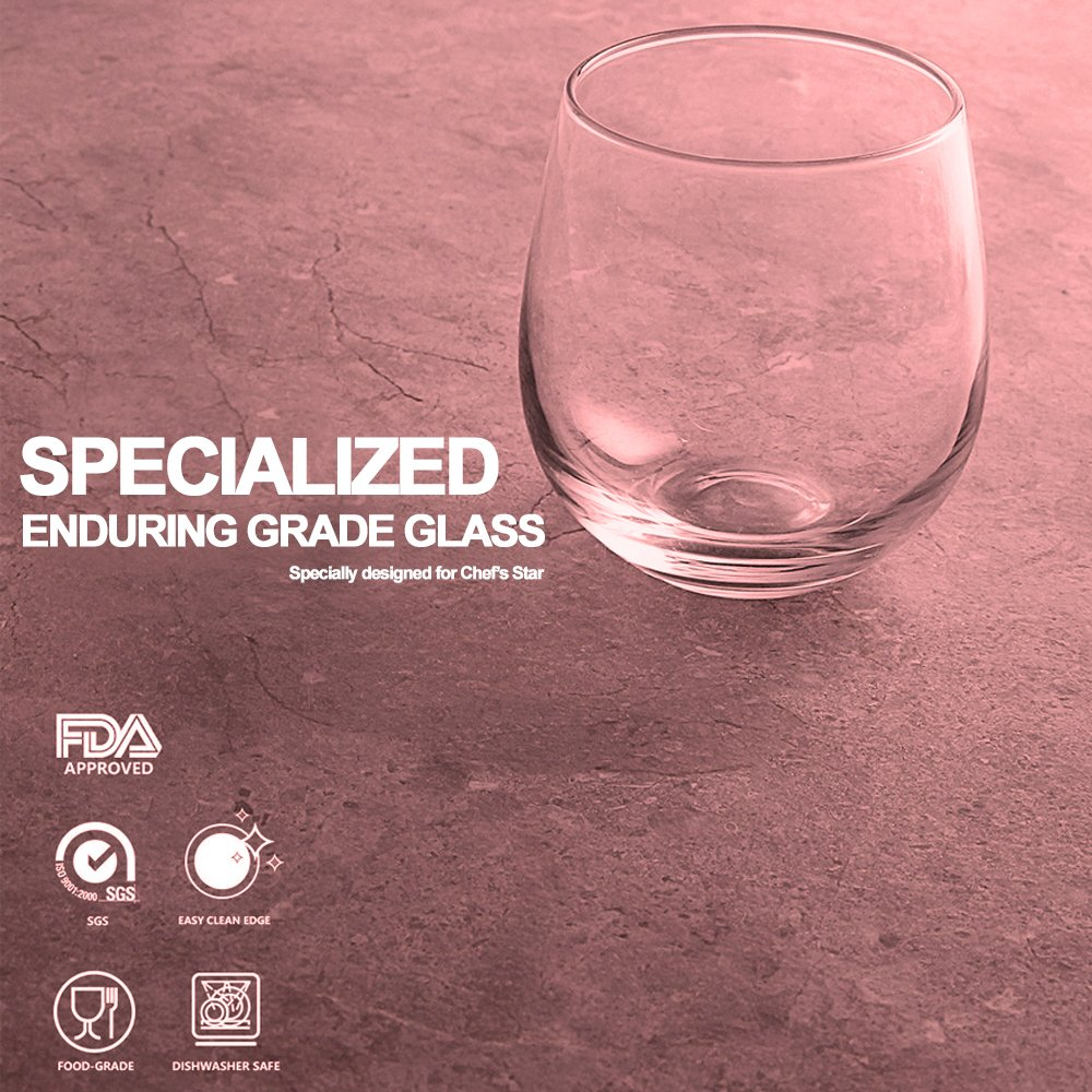 Chef's Star Shatter-Resistant Stemless Wine Glass Set (12 Pack) by Chef's Star (Image #5)