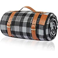 Extra Large Picnic Blanket 3 Layers for Waterproof Beach Handy Mat Black and White Checkered Camping Mat for Outdoor…
