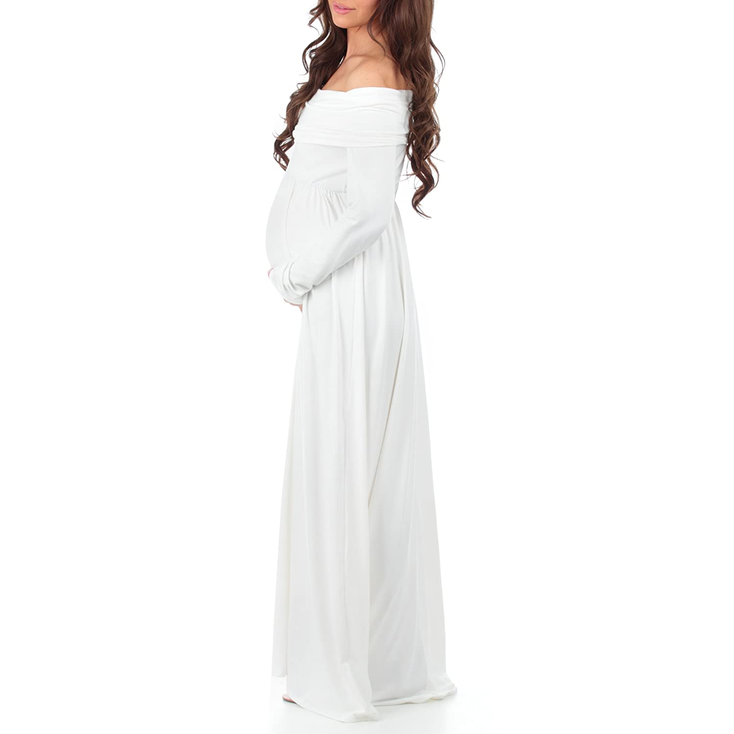3280852ce4941 Amazon.com: Women's Cowl Neck and Over The Shoulder Ruched Maternity and Nursing  Dress by Mother Bee - Made in USA (Medium, Ivory): Clothing