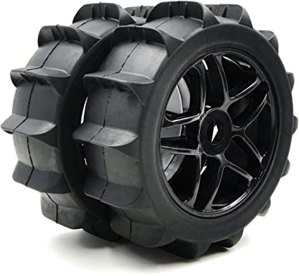 2pcs RC 1//8 Paddles Buggy Tires Snow Sand Tyres Hex 17mm Wheels for RC 1:8 Off Road Buggy Car