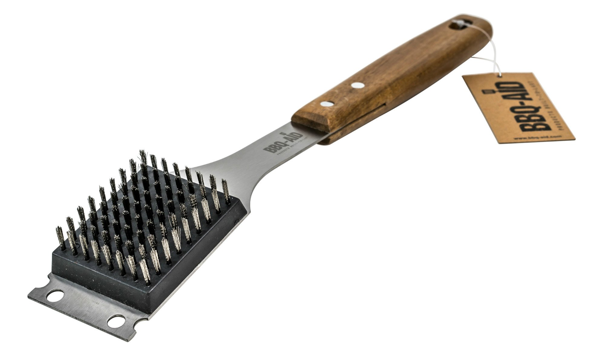 Barbecue Grill Brush and Scraper - Extended, Large Wooden Handle and Stainless Steel Bristles - No Scratch Cleaning for Any Grill: Char Broil & Ceramic - BBQ-Aid by BBQ-Aid