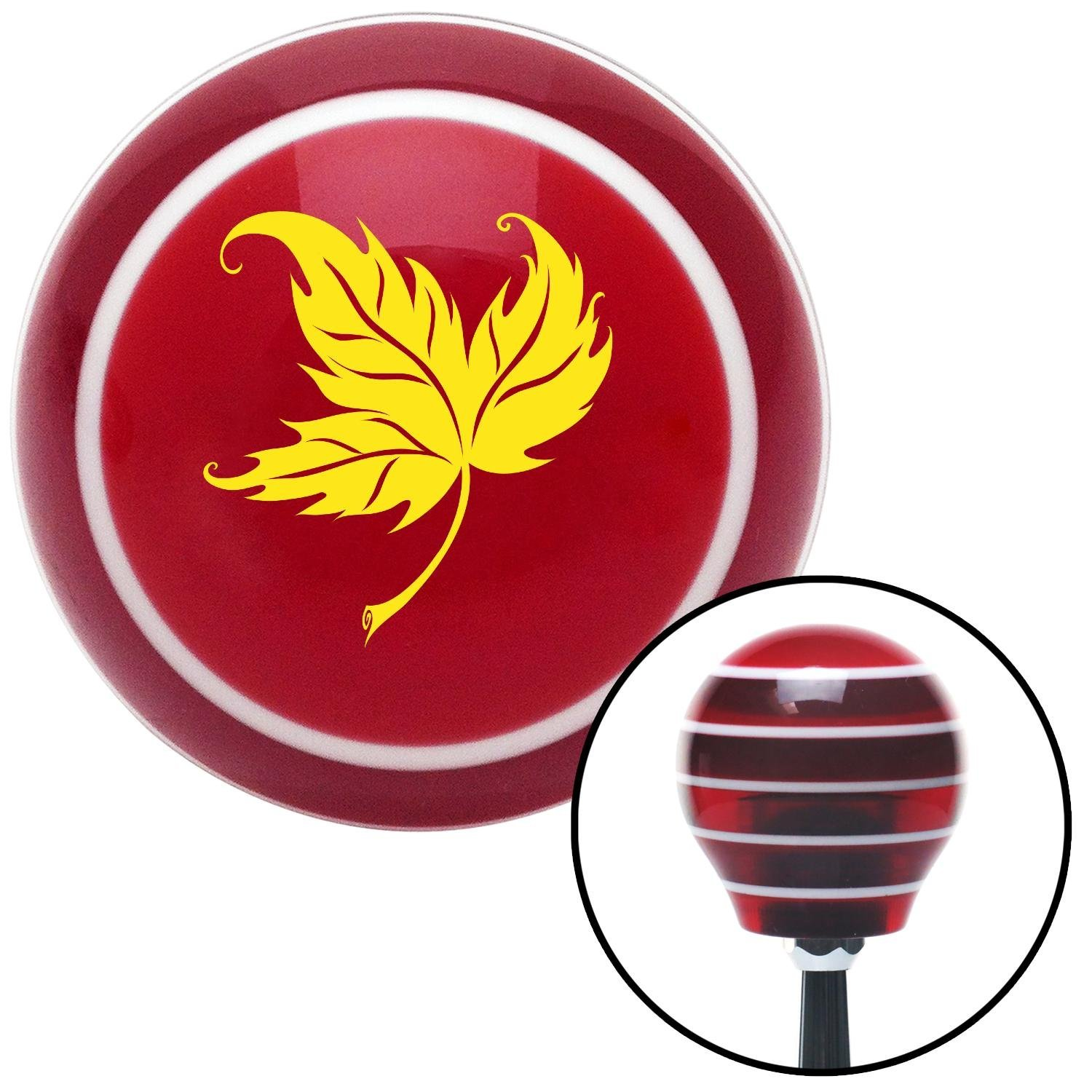 American Shifter 116321 Red Stripe Shift Knob with M16 x 1.5 Insert Yellow Falling Leaf