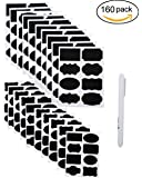 160 PCS Chalkboard Labels , Sackorange Pantry Stickers for JARS,Mason, Spice, Glass and Canisters, Large Reusable Waterproof Blackboard Vinyl Set, Dishwasher Safe with White Chalk Marker