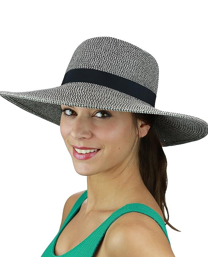 52c1e349b2f91 C.C Women s Solid Color Band with Tassel Summer Beach Floppy Brim Sun Hat