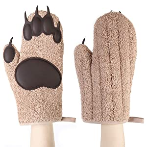 Buringer 1 Pair of Bear Paw Oven Mitts Silicone Padded Oven Gloves High Heat Resistance BBQ Home Oven Gloves for Kitchen Cooking Baking