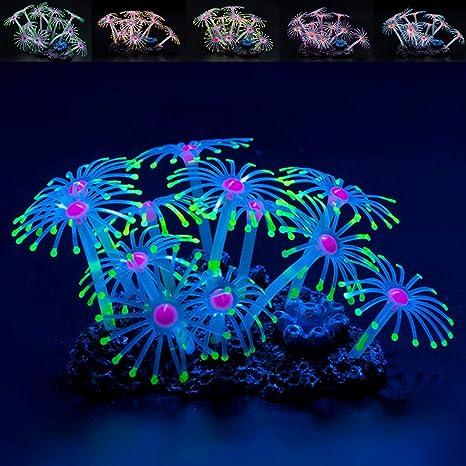 Global Brands Online Fluorescente Silicona Acuario Coral Planta Ornamento del Tanque de Peces Acuã¡Ticos
