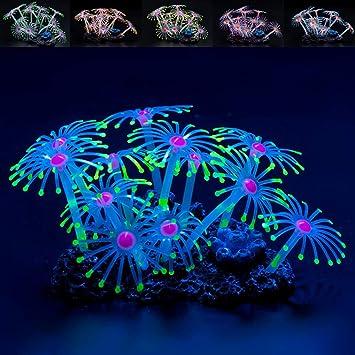 Global Brands Online Fluorescente Silicona Acuario Coral Planta Ornamento del Tanque de Peces Acuã¡Ticos de Agua Decoraciones de Decoraciã³n: Amazon.es: ...