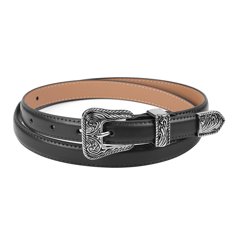 "WERFORU Vintage Skinny Belt Summer Fashion Women Leather Belt 0.7"" Wide with Metal Floral Buckle, Enclosed in Gift Box"