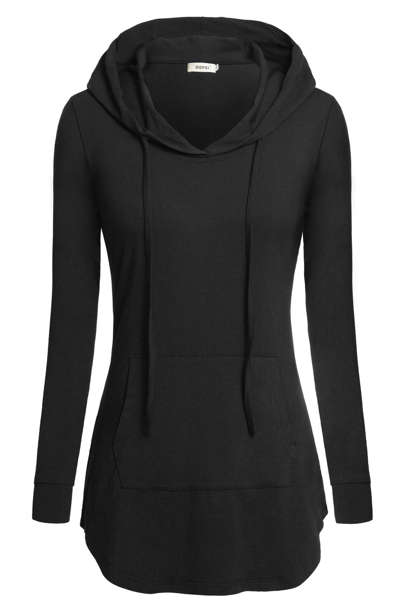 BEPEI Women Shirts, Hoody Sweatshirt Long Sleeves Business Office Blouse Black XL
