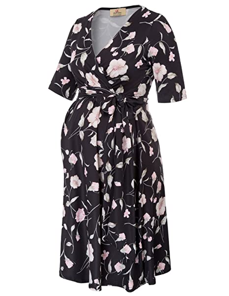Vintage Style Maternity Clothes  Printed Maternity Dress with Side Bow Tie GRACE KARIN Womens V-Neck Knee Length Wrap Flower $26.95 AT vintagedancer.com