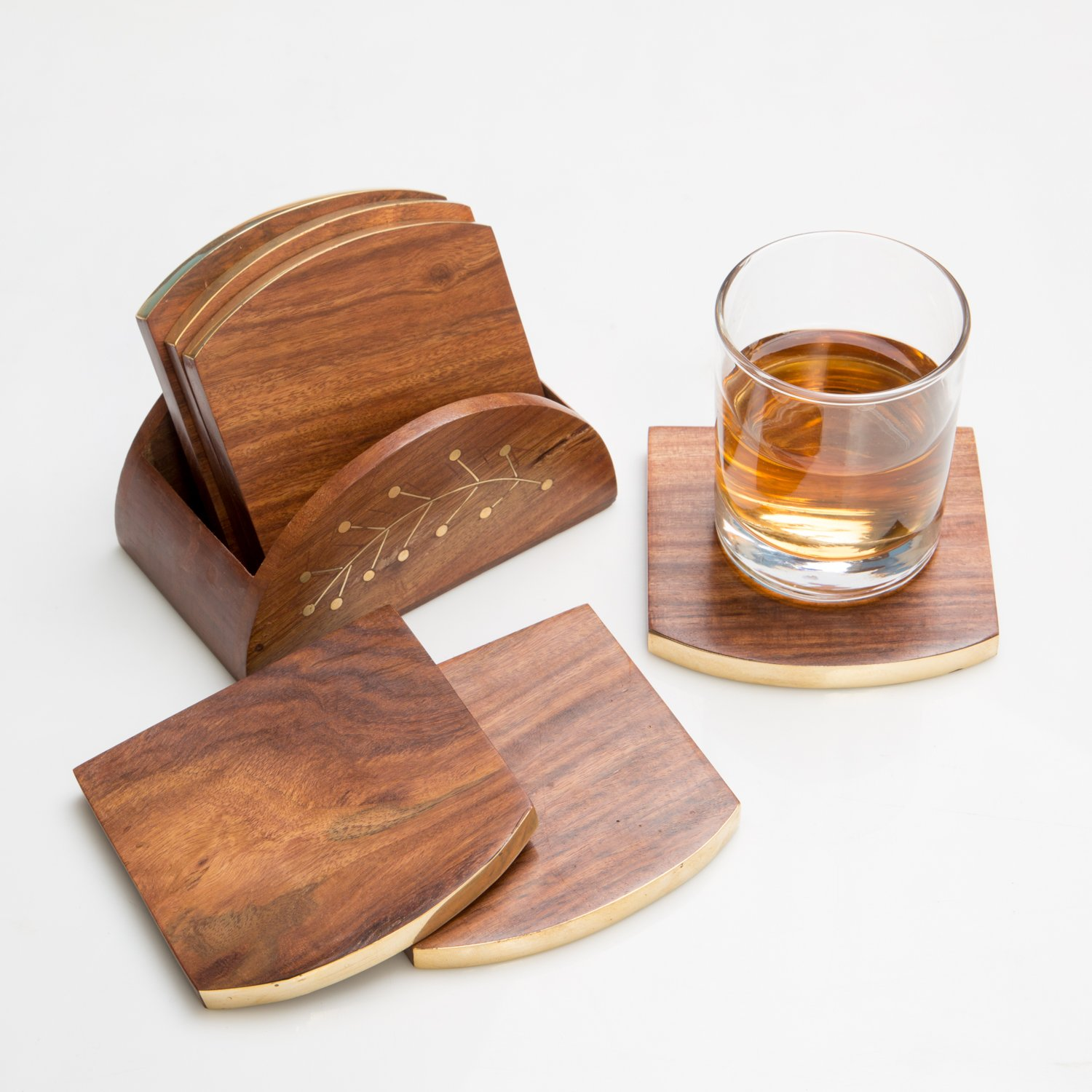 Rusticity Wood Cool Coaster Set of 6 - Loaf design | Handmade | (2.25x2.25 in)