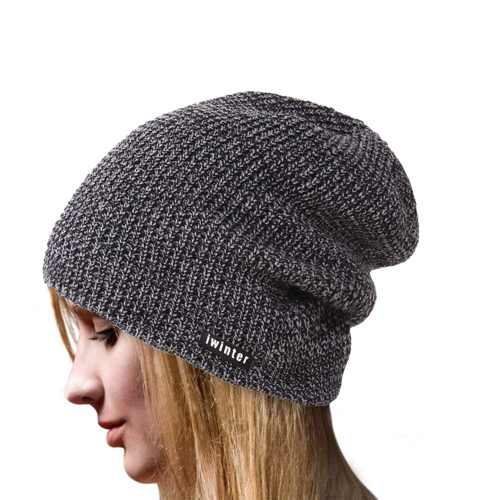 4YOUALL Beanie Hat for Men and Women, Fleece Lined Winter Warm Soft Nap Hats Knit Slouchy Thick Skull Cap (Plain Knit, Black Grey)