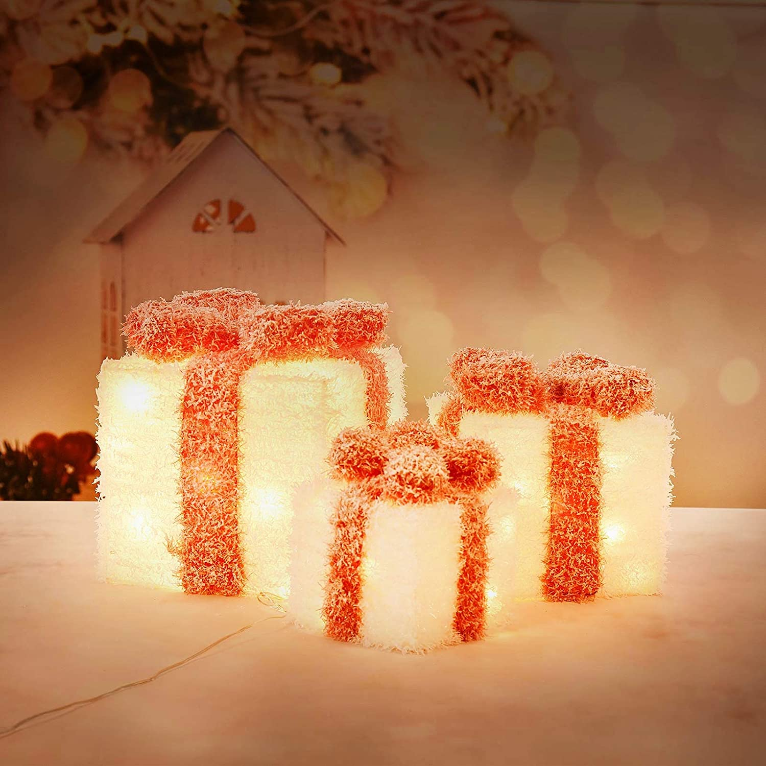 Christmas Lighted Gift Boxes Covered with Snow Red//White Set of 3 Indoor Outdoor Present Box for Pathway Home Yard X-mas Holiday Party Decorations