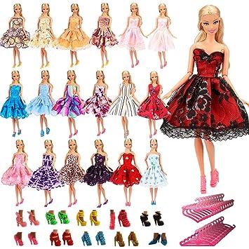 4b185f10ba7 Amazon.es  Miunana 15 Artículos   5X Vestidos de Corto + 5 Pares Zapatos y  5 Perchas Vestir Ropa Casual Accesorios como Regalo para Barbie Muñeca  Doll  ...