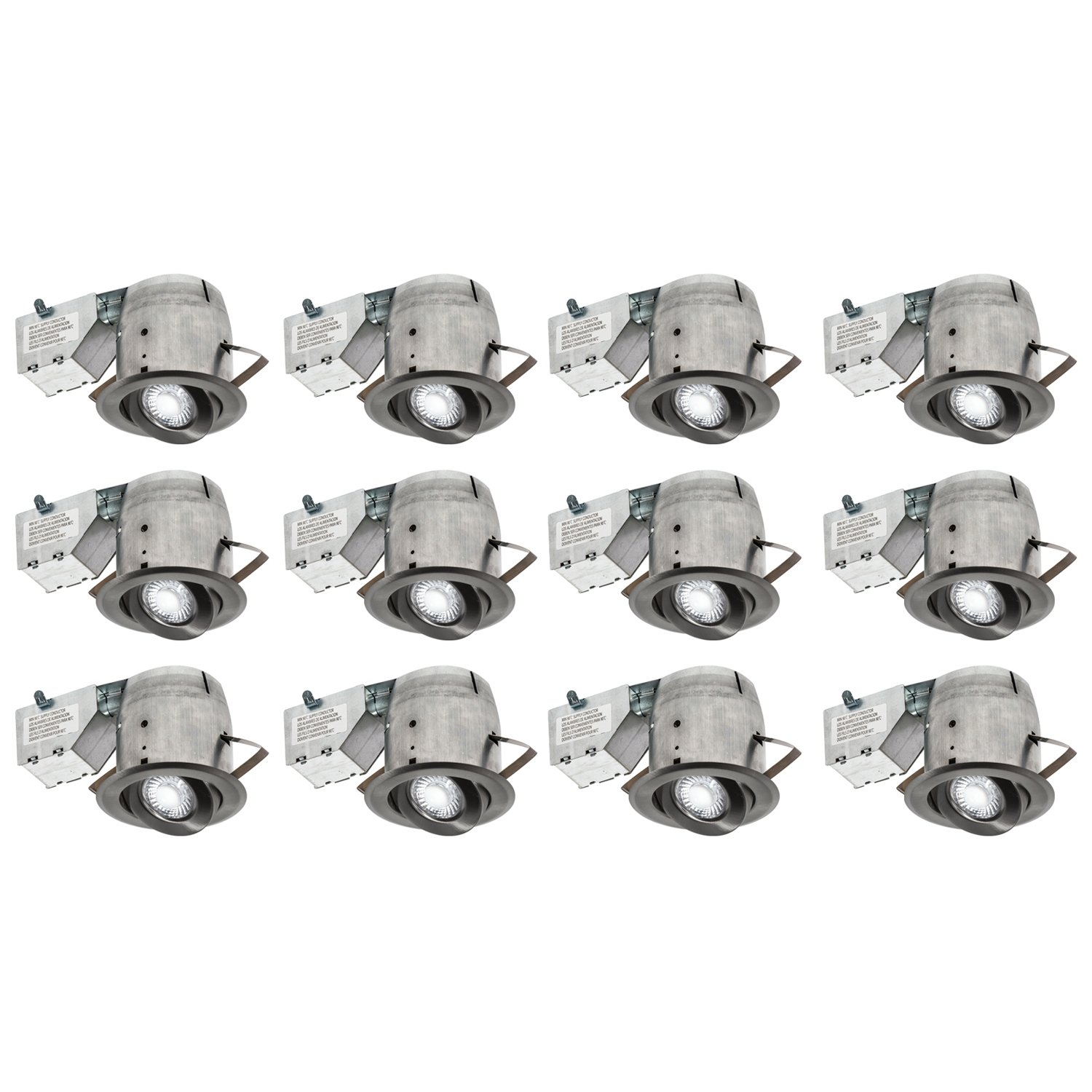 Nadair 3-inch LED Recessed Lighting Kit (x12) Swivel Spotlight Dimmable Downlight - IC Rated - 3000K Warm White GU10 550 Lumens Bulbs (50 Watts Equivalent) Included, 12-Pack Brushed Nickel Color