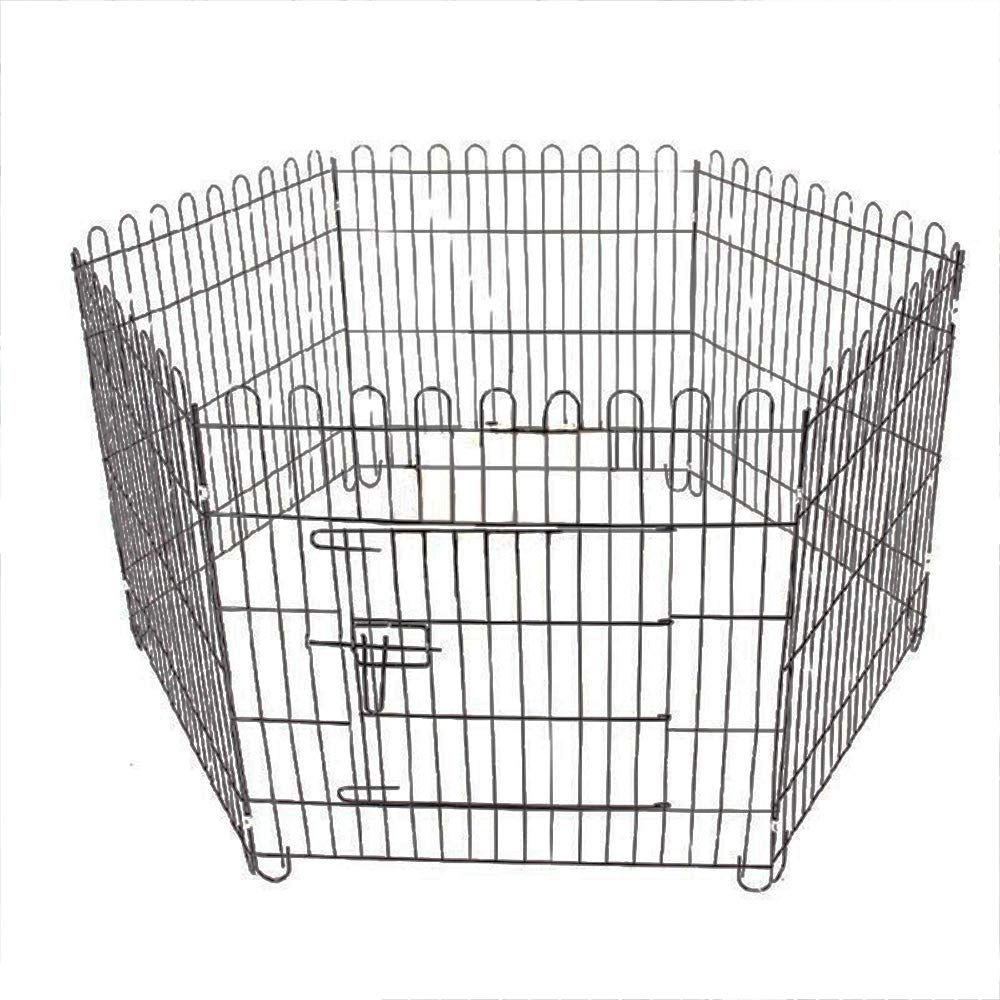 6 Panel Dog Playpen Pet Exercise Pen Metal Large Fence Cat Rabbit Puppy Portable Outdoor Kennel Cage RV Play Yard Animal Gate