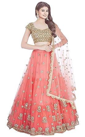 d0f3445b33 Bhurakhiya Women's Embroidery Colour Orange Semi Stitched Lehenga ...