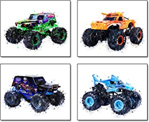 """Cartoons Monster Truck Theme Wall Art Prints Set of 4 (8""""X10"""" Canvas Picture) Children Boys Birthday Gift Game Room Decor Art Painting Kids Nursery Wall Poster Home Decor Unframed"""