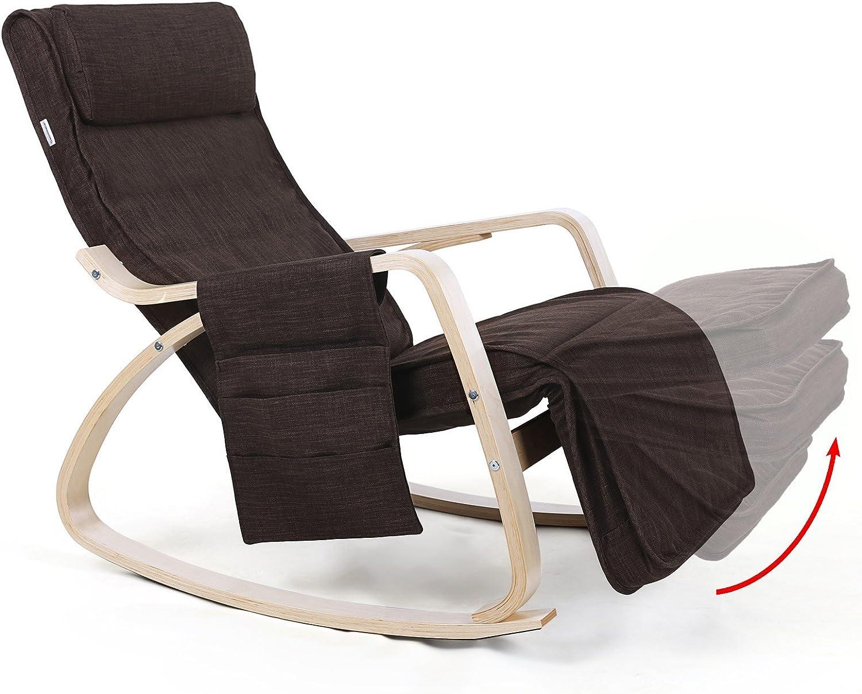 kg Bascule à Repose Charge SONGMICS LYY12Z Pieds Rocking Design 5 Lin Chair Niveaux Maximum150 réglable Fauteuil Brun à avec dsQxthrC