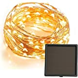 Solar Powered String Lights,200 Warm White LED Outdoor Starry Fairy Lights,22 Meters Long,Built-in 1200 mAh Rechargable Battery,Good Decoration for Home Garden Decoration Xmas Wedding Festival Party Valentine's Day -- Copper Wire
