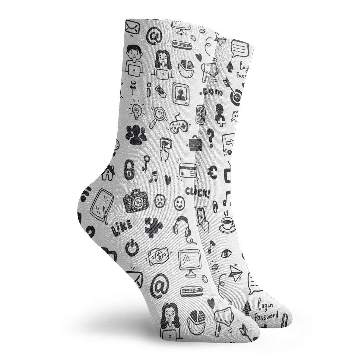 Women Men Social Media Pattern Cushion Crew Socks