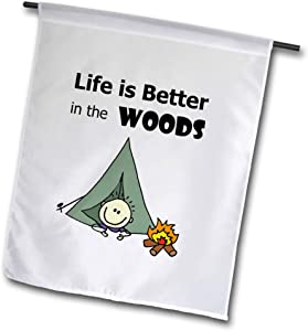 3dRose All Smiles Art - Sports and Hobbies - Cool Funny Life is Better in The Woods Camping with Tent Cartoon - 12 x 18 inch Garden Flag (fl_308370_1)