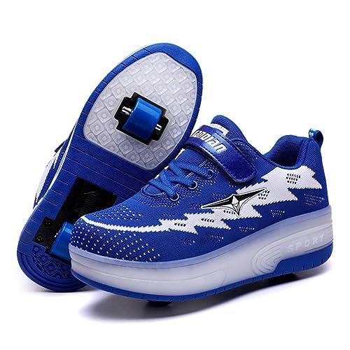 Skybird-UK Luces LED Zapatos de Skate Automático Brillante Calzado Deportes de Exterior Roller Patín Zapatillas Gimnasia Sneakers para Niñas Niño Pequeños: ...