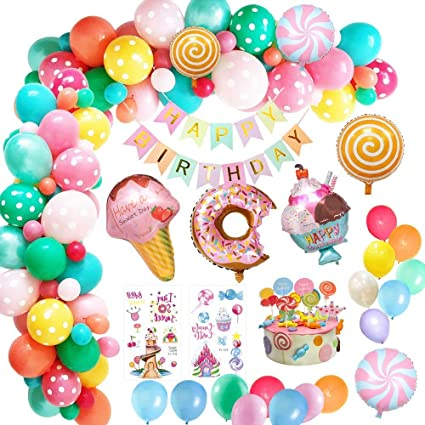 Toys Birthday Party Candy Party Supplies Balloons Foil Lollipops Flowers