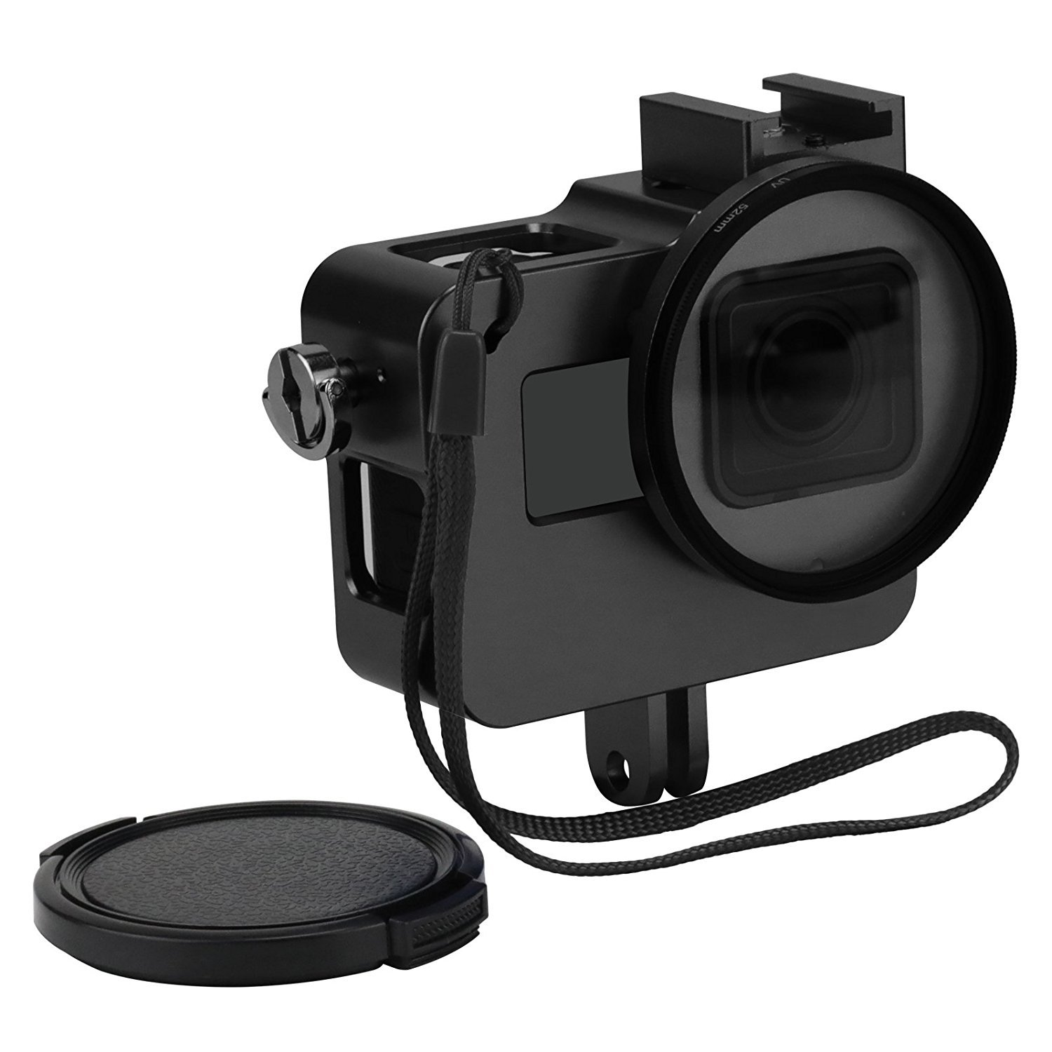 D&F Black CNC Aluminum Alloy Housing Sport Camera Shell Box Frame Mount Prevent Overheating with Protective Lens for Gopro HERO 5 by D&F