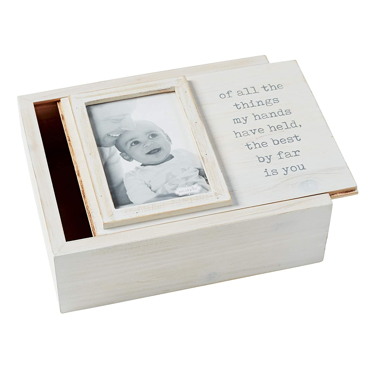 White//Grey Best is You Mud Pie Decorative Photo Keepsake Nursery Box
