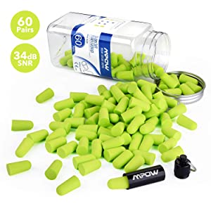 Mpow 055A Ear Plugs 60 Pairs, Super Soft Foam Ear Plugs 34dB SNR, Noise Reduction Hearing Protector, with Aluminum Carry Case, for Sleeping, Woodworking, Shooting, Travel, Loud Events-Green
