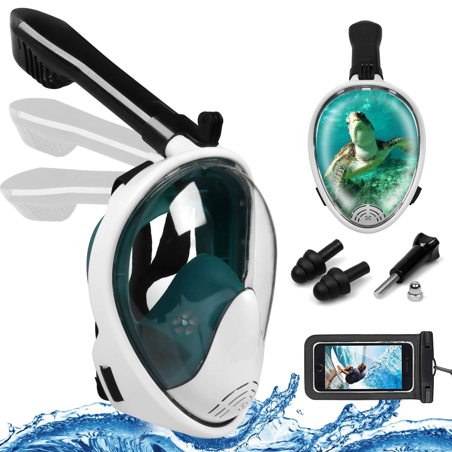 Foldable Full Face Snorkel Mask, 180° Panoramic View Scuba Diving Mask Perfect for Kids Swimming & Adult Diving (S/M, Dark Green)